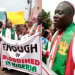 Terrorism:  Bishop of Methodist Church Ikeja leads protest march in Lagos, says president Buhari knows those holding Leah Sharibu