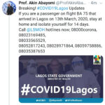 Breaking: Isolate yourself for 14 days if you were a passenger on flight BA 75 that arrived Lagos on March 13 – Lagos Health Commissioner, Prof Abayomi