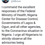 coronavirus#:  Buhari commend Lagos and Ogun