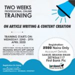 Register now for an Online Training on Article Writing and content creation