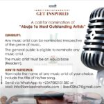 """A call for nomination of """"Abuja 10 Most Outstanding Music Artists 2020"""""""