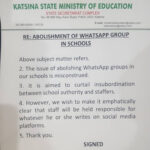 Abolishment of school WhatsApp groups is to curtail insurbodination between school authority and staffers – Katsina State Govt