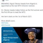 Prominent Nigerians celebrates Dr Ngozi Okonjo-Iweala as she becomes the newly appointed Director-General of the World Trade Organization (WTO)