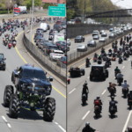 As DMX is to buried on Sunday 25th April, a Monster truck is seen carrying his  casket accompanied with  thousands of bikers as his remains is taken to Brooklyn's Barclays Center for the memorial service (Photos)